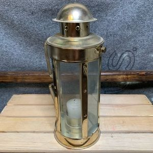 Vintage Gold & Glass Candle Lantern